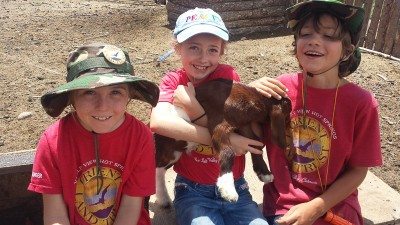 Happy Kids and Goat