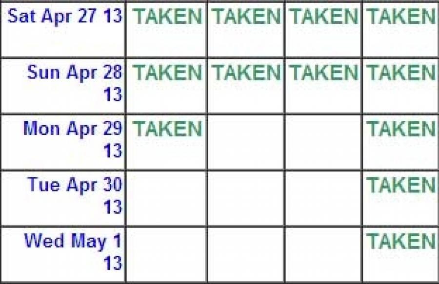 Availability Calendars